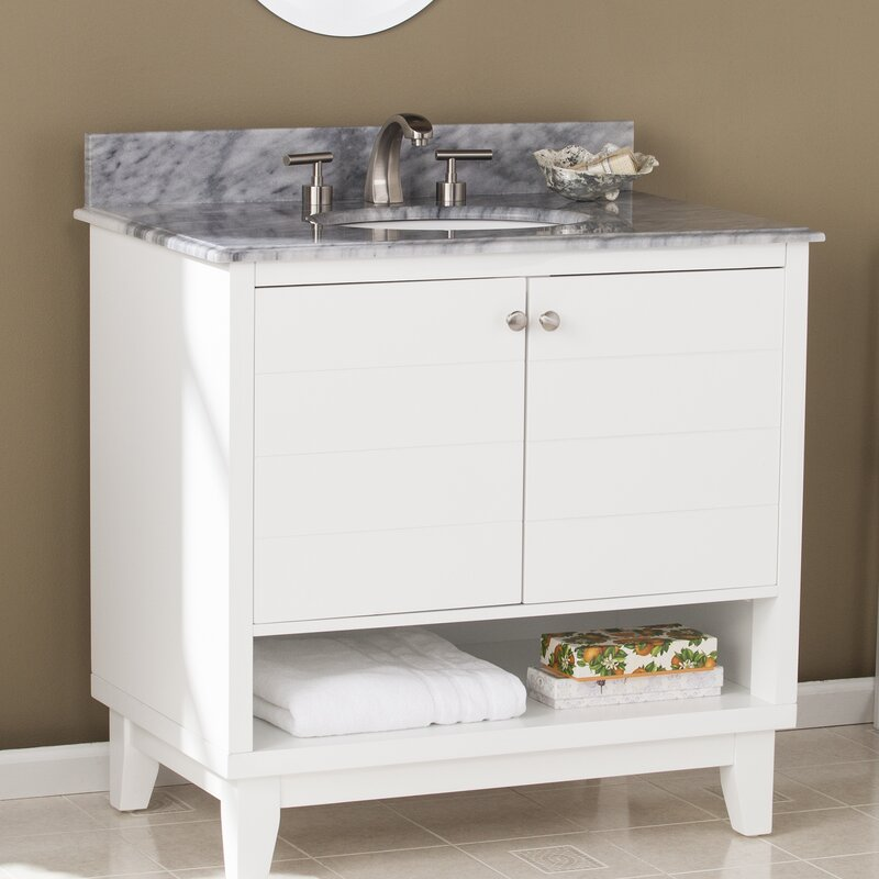 Holtman 34 Single Sink Bathroom Vanity Set With Marble Top