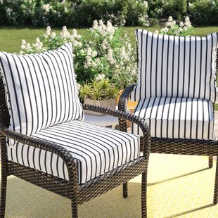 Whitten Stripe Indoor Outdoor Sunbrella Lounge Chair Cushion