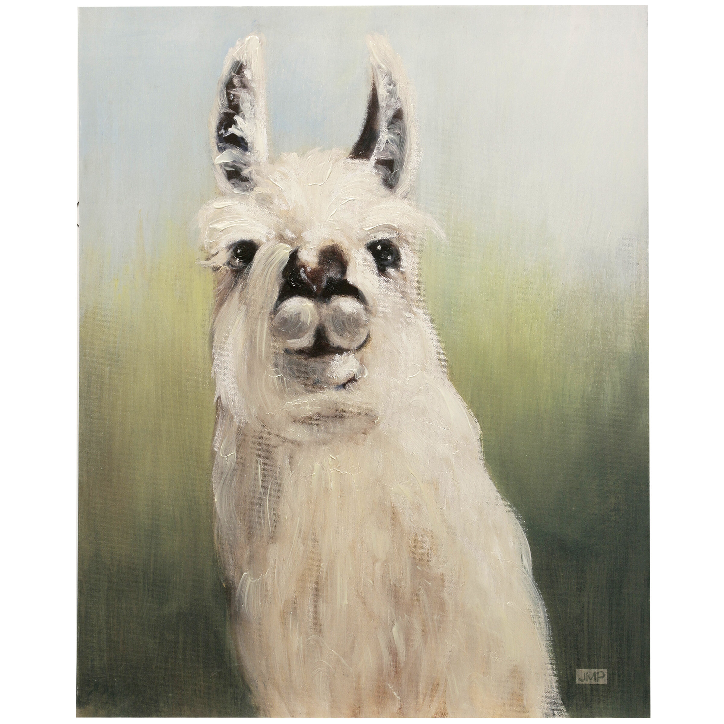 August Grove Llama Headshot Acrylic Painting Print on Canvas  Wayfair