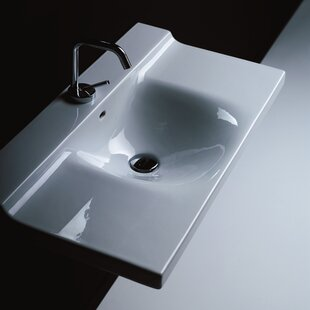 Comparison Buddy Ceramic 40 Wall Mount Bathroom Sink with Overflow By WS Bath Collections