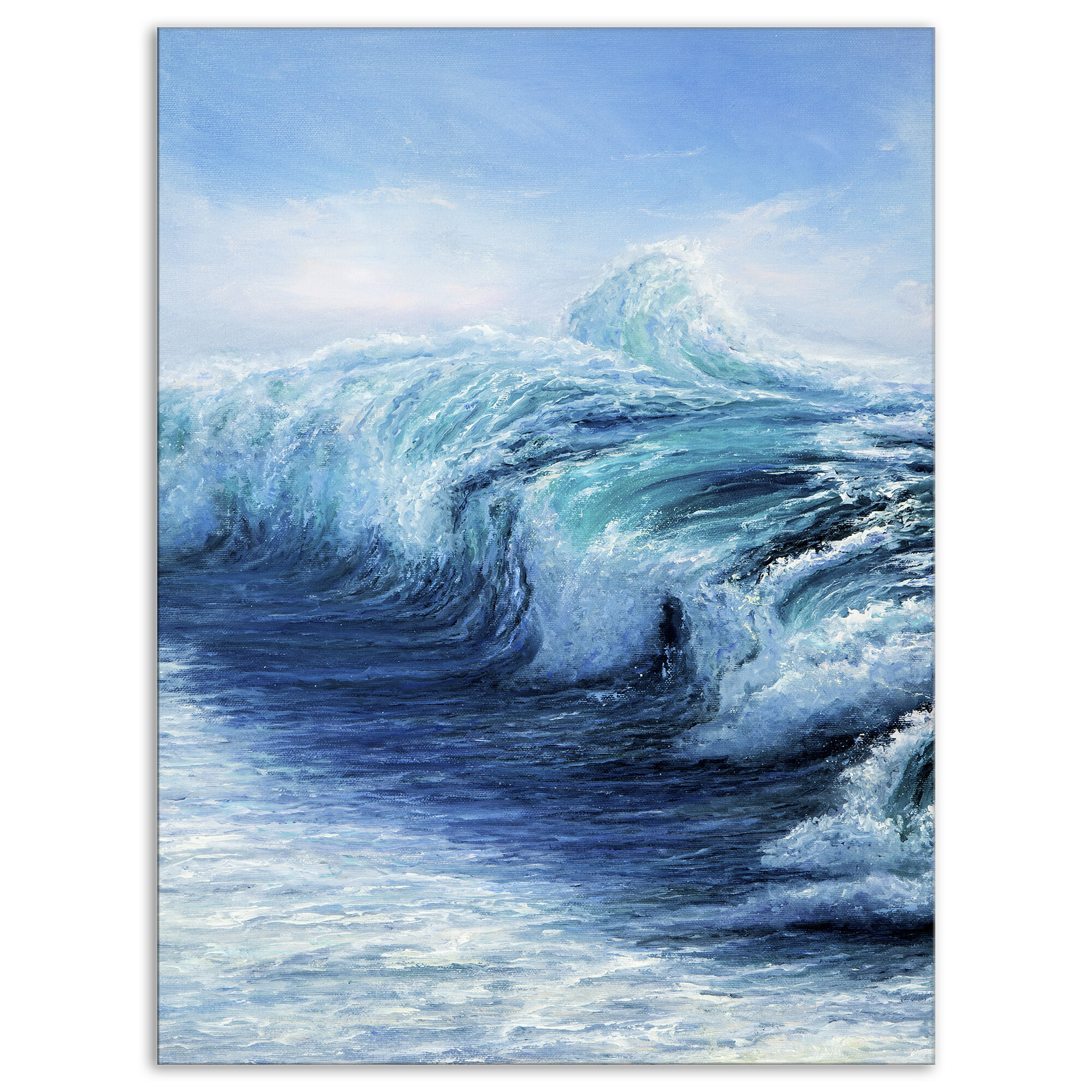 East Urban Home Strong Sea Wave Wrapped Canvas Graphic Art Print Wayfair