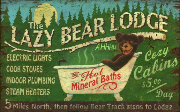 Loon Peak Lazy Bear Vintage Advertisement Plaque Reviews Wayfair
