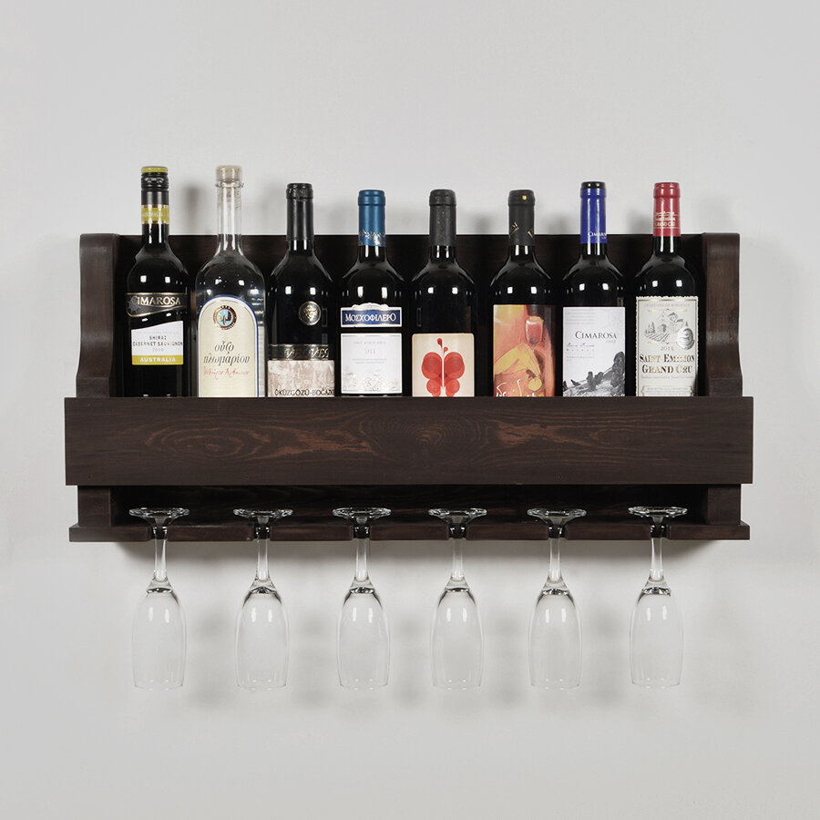Rebrilliant Anding Natural 8 Bottle Wall Mounted Wine Bottle And Glass Rack Reviews Wayfair