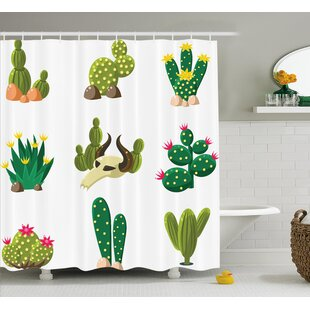 Pat Mexican South Desert Animals Cactus Plants Skeletons Flowers Cartoon Image Single Shower Curtain