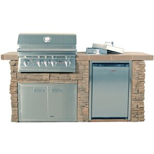 Sensational Q Stucco 4-Burner Built-In Gas Grill with Side Shelves