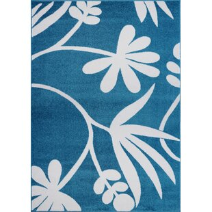 Read Reviews Kindig Botanical Blue/White Area Rug By Zoomie Kids