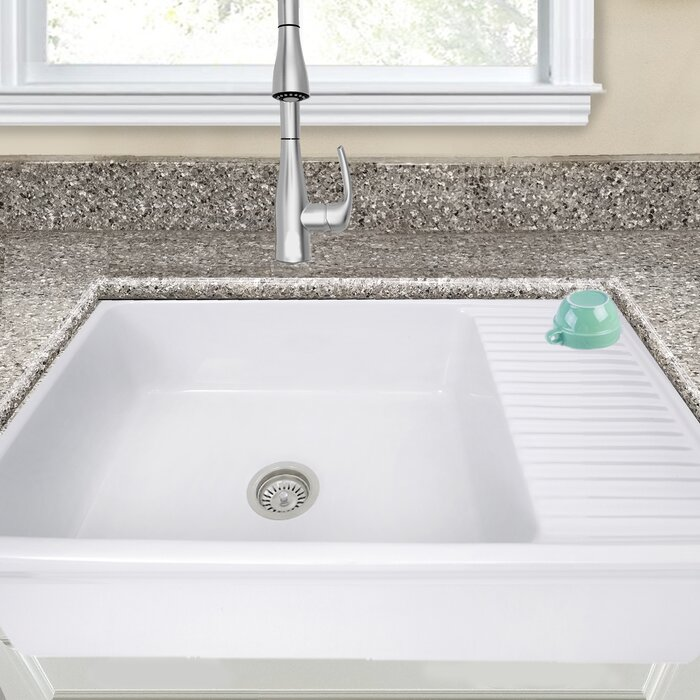Farm Sink With Drainboard.Cape 36 L X 20 W Farmhouse Kitchen Sink With Built In Drainboard