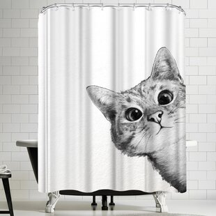 Laura Graves Sneaky Cat Single Shower Curtain