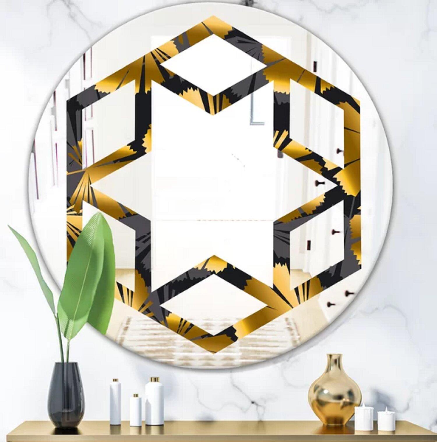 East Urban Home Hexagon Star Palm Leaves Iii Glam Frameless Wall Mirror Wayfair