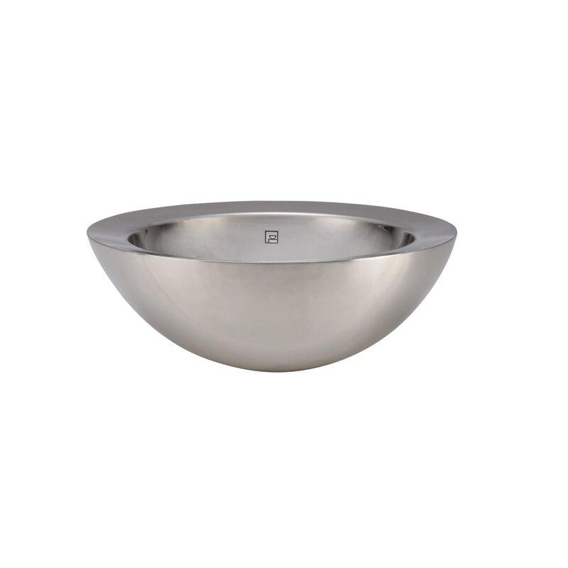 Stainless Steel Bathroom Sinks. Simin Stainless Steel Metal Circular Vessel Bathroom Sink with Overflow DECOLAV
