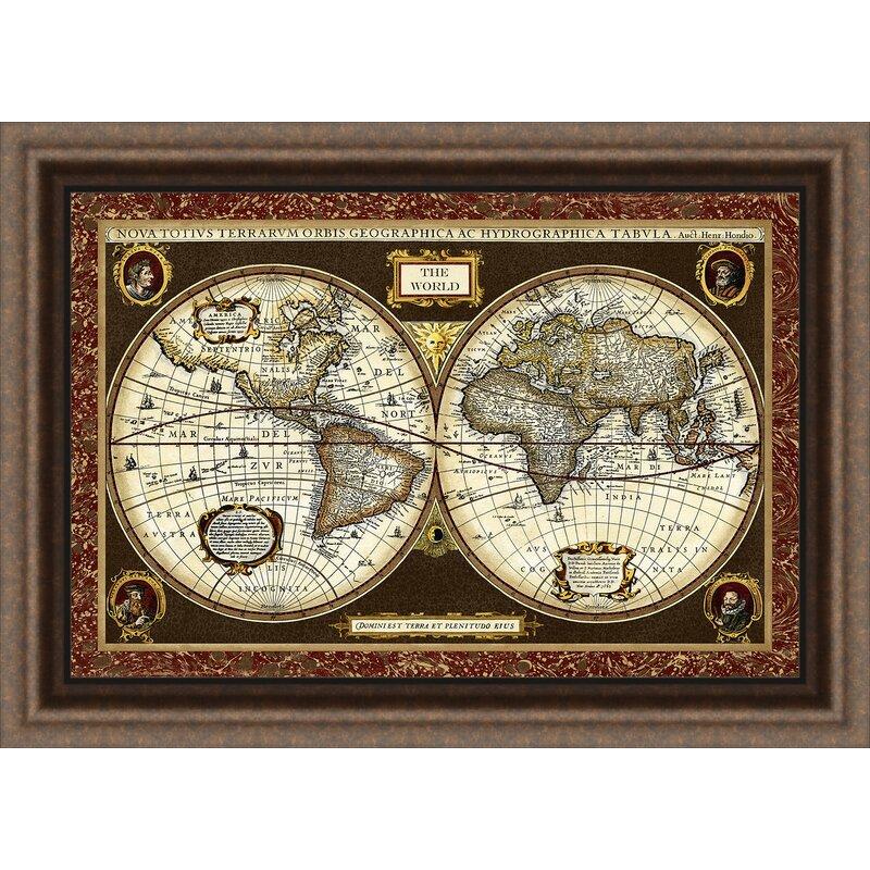 Ashton Wall Décor LLC Trends Decorative World Map Framed Graphic Art ...