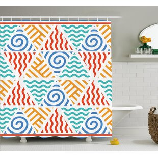 Bridget Tribal Retro Pattern Symbols of Four Elements Air Water Fire and Earth Shower Curtain ByEbern Designs