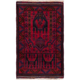 Bargain One-of-a-Kind Gruber Hand-Knotted 3'1 x 4'11 Wool Red/Black Area Rug By Isabelline
