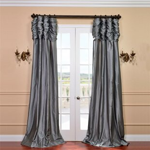Hallman Ruched Faux Silk Taffeta Thermal Rod Pocket Single Curtain Panel by Astoria Grand