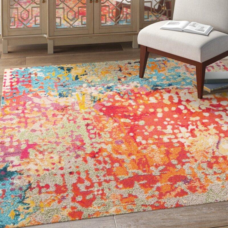 Bungalow Rose Neasa Abstract Orange Area Rug Reviews Wayfair Ca