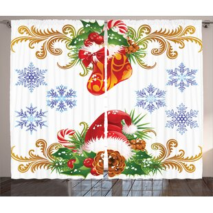 Christmas Decorations Classic ative Design with Stocking and Santa Hat Mistletoe Snowflakes Graphic Print & Text Semi-Sheer Rod Pocket Curtain Panels (Set of 2) by The Holiday Aisle