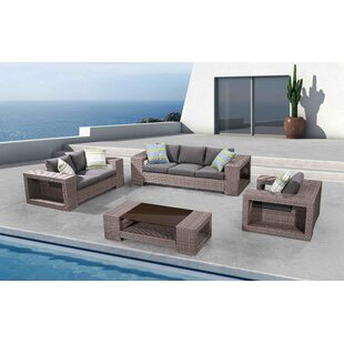 Carrier 4 Piece Rattan Sofa Seating Group with Cushions