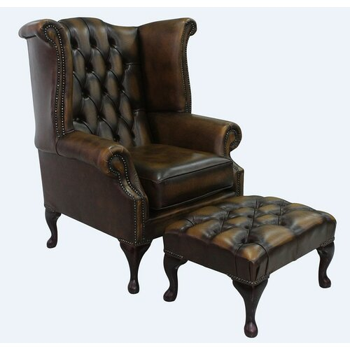 Childress Leather Queen Anne Wingback Chair and Footstool Op
