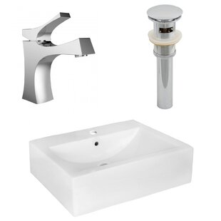 Look for Ceramic Rectangular Vessel Bathroom Sink with Faucet and Overflow ByAmerican Imaginations