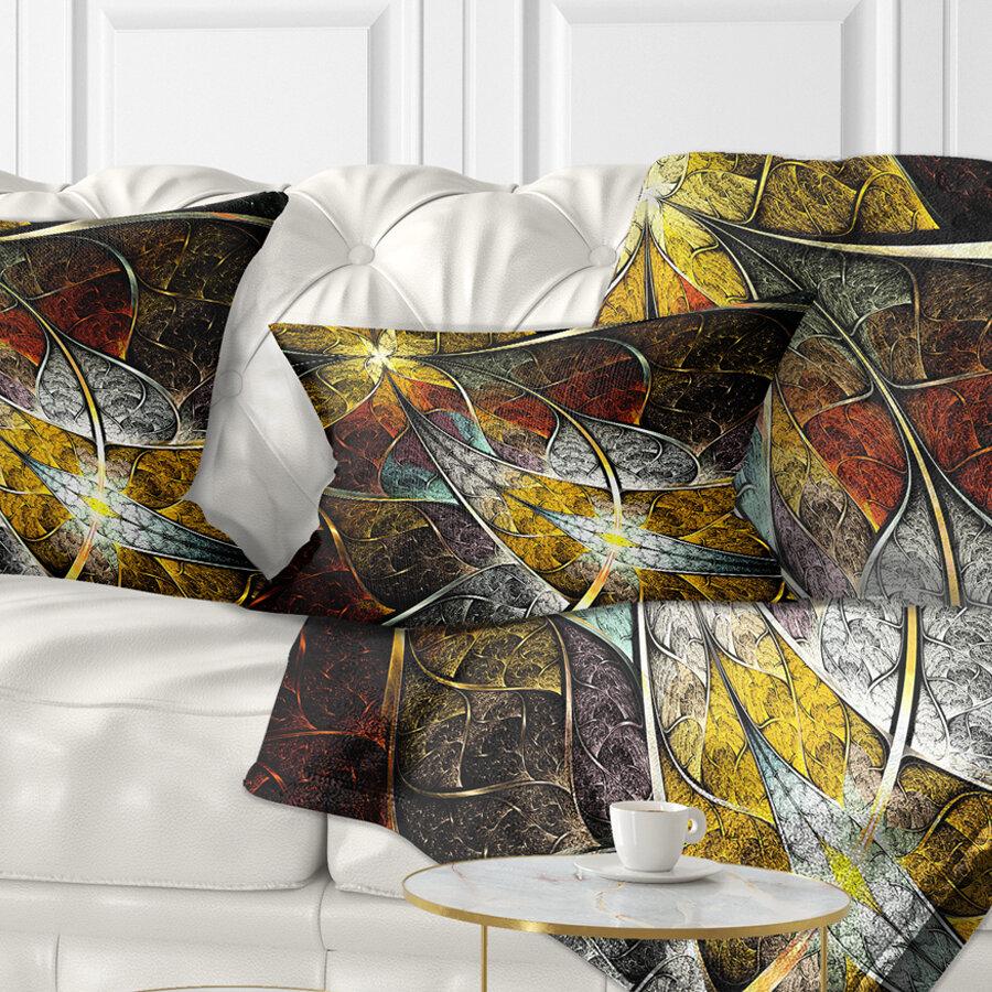 East Urban Home Floral Symmetrical Fractal Flower Lumbar Pillow Wayfair