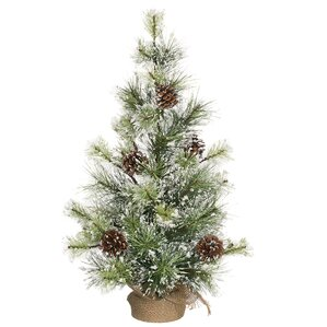 snowy 2 green pine artificial christmas tree with burlap base stand - Half Christmas Trees