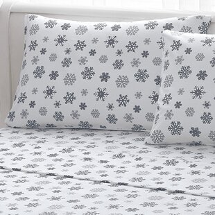 Big Snowflake 100% Cotton Flannel Sheet Set By Brielle