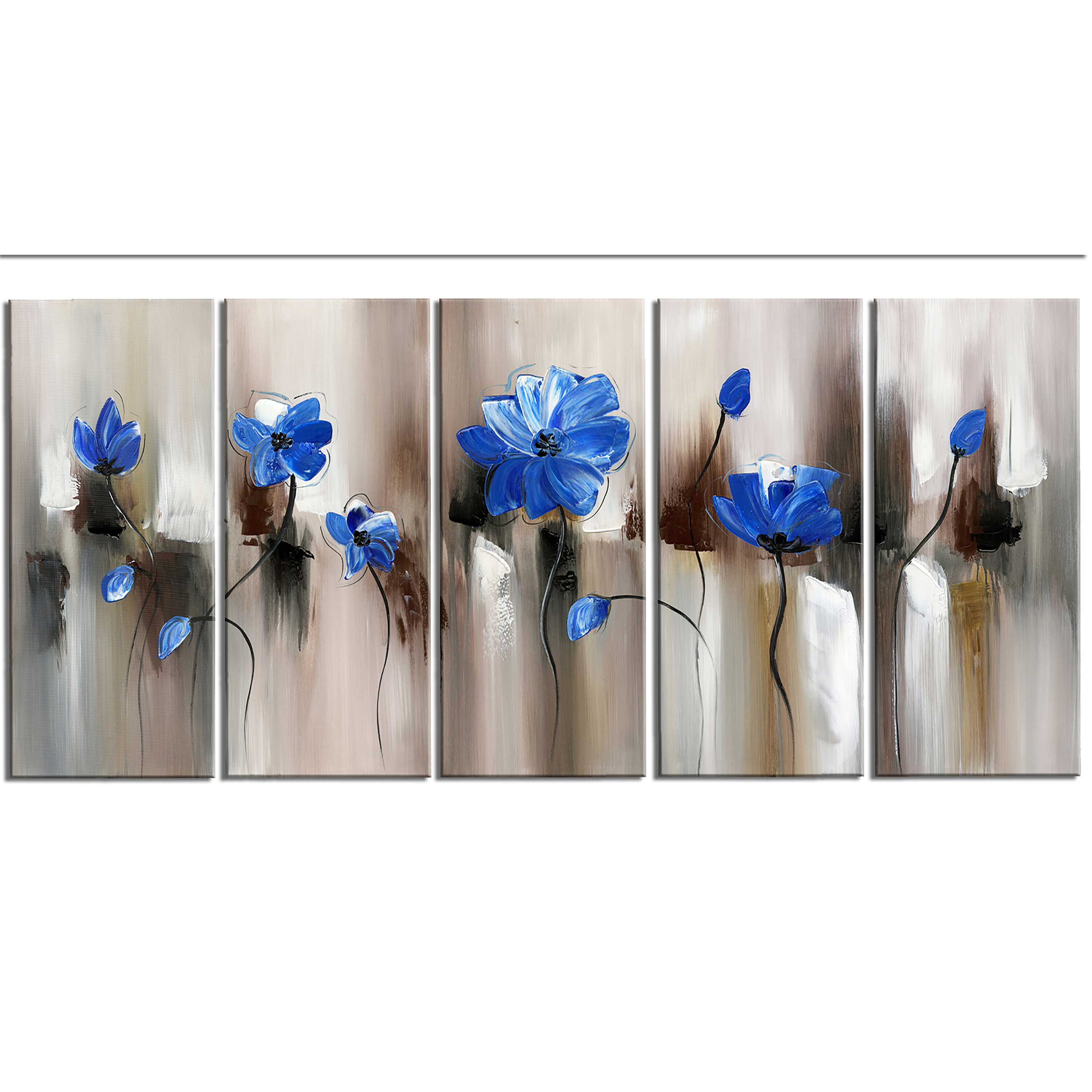 Ebern Designs Blue Modern Flower 5 Piece Graphic Art On Wrapped Canvas Set Reviews Wayfair
