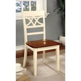 Ivery Dual Tone Ladder Back Side Chair in White/Brown by August Grove®