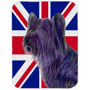 Union Jack Skye Terrier with English British Flag Glass Cutting Board By Caroline's Treasures