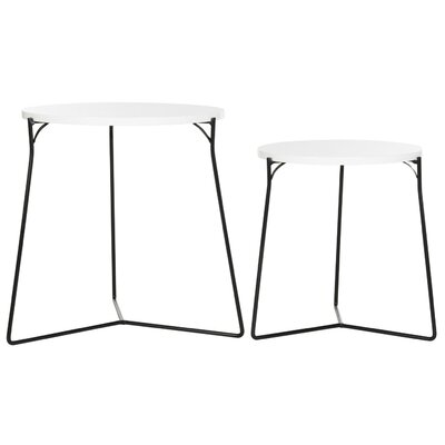 Brayden Studio Mae 2 Piece Nesting Tables Color: White