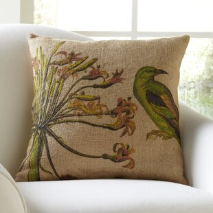 Cassiopeia Bird & Flower Burlap Throw Pillow