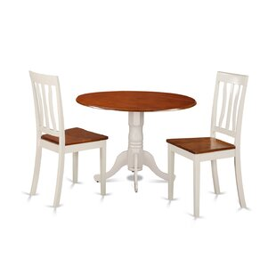 3 Piece Drop Leaf Solid Wood Dining Set East West Furniture