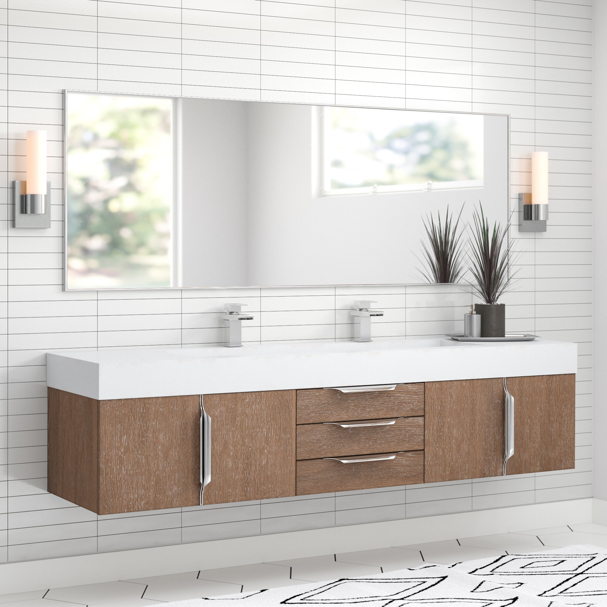 Allmodern Hukill 73 Wall Mounted Double Bathroom Vanity Set Reviews Wayfair
