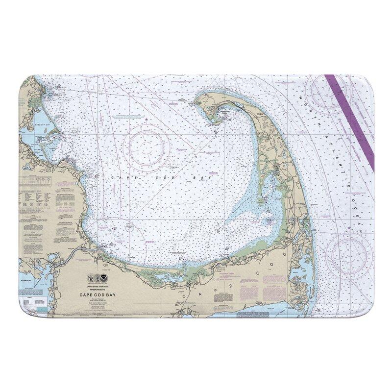 Breakwater Bay Nautical Chart Cape Cod Ma Bath Rug Wayfair