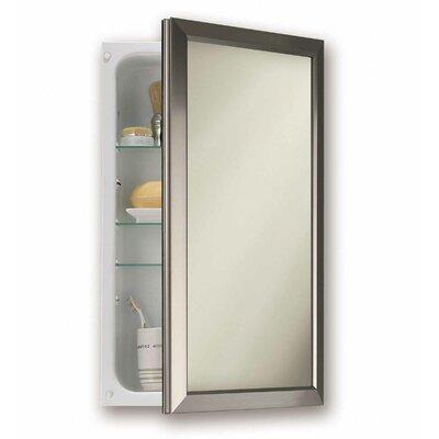 Charlton Home Hartl 15.75 x 25.5 Recessed Framed Medicine Cabinet with 3 Adjustable Shelves Finish: Satin Nickel