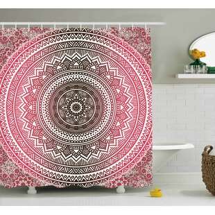 Tanya Pink and White Bohemian Ombre Mandala Vintage Pattern Modern Zen Traditional Design Single Shower Curtain