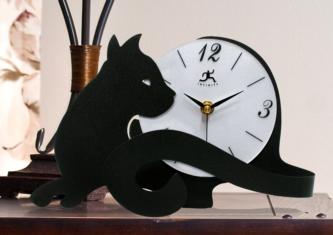 Infinity instruments cat tail table clock reviews wayfair cat tail table clock amipublicfo Gallery