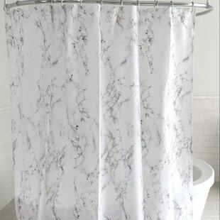 Reynalda Roman Palace Smoky Marble Fabric Shower Curtain