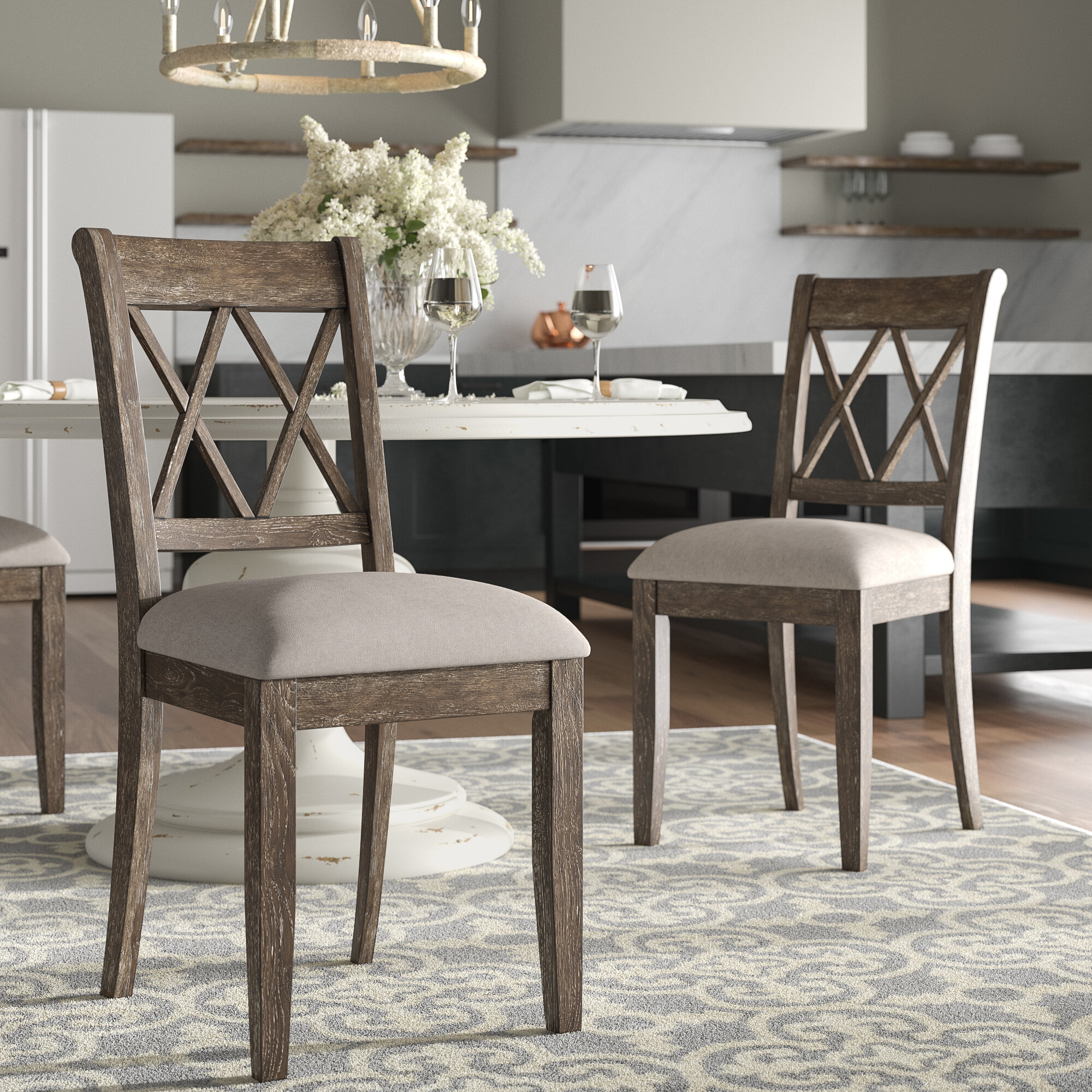 Grayson Braided Chair Pad country farmhouse dining room table kitchen tan gray