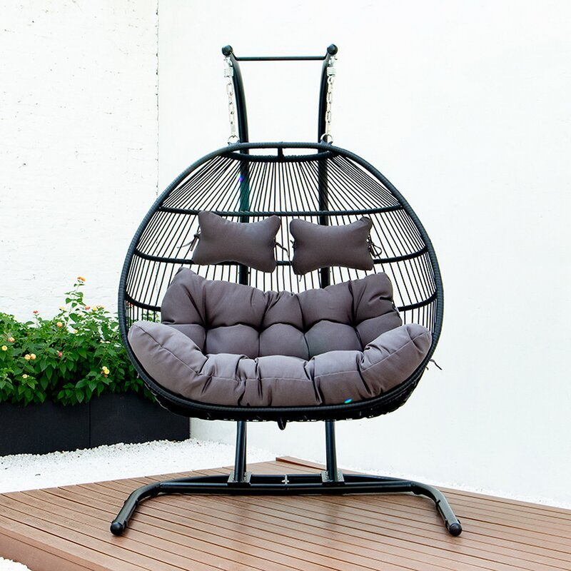 Kinwell Foldable Wicker Rattan Hanging Double Swing Egg Chair Hammock Chair Aluminum Frame And Uv Resistant