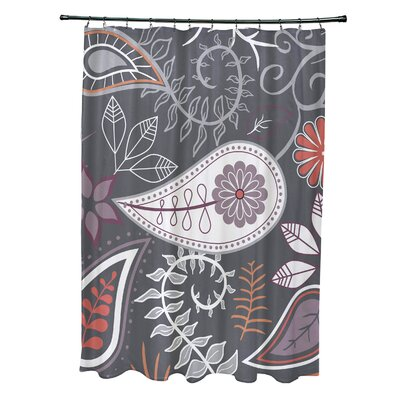 Alcott Hill Orchard Lane Polyester Paisley Floral Single Shower Curtain  Color: Gray