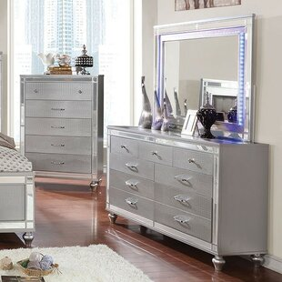 Rothwell 9 Drawer Double Dresser with Mirror