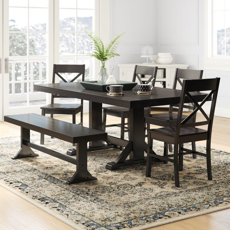 Union Rustic Faulkner 6 Piece Extendable Breakfast Nook Dining Set