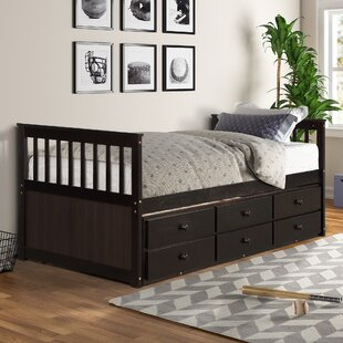 Caitie Twin Solid Wood Bed with Trundle and 3 Drawers by Harriet Bee