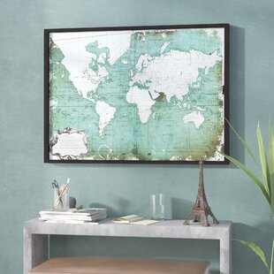 Antique pictures wayfair antiqued world map framed graphic art print publicscrutiny Images