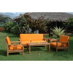 South Bay 5 Piece Teak Sofa Seating Group with Sunbrella Cushions
