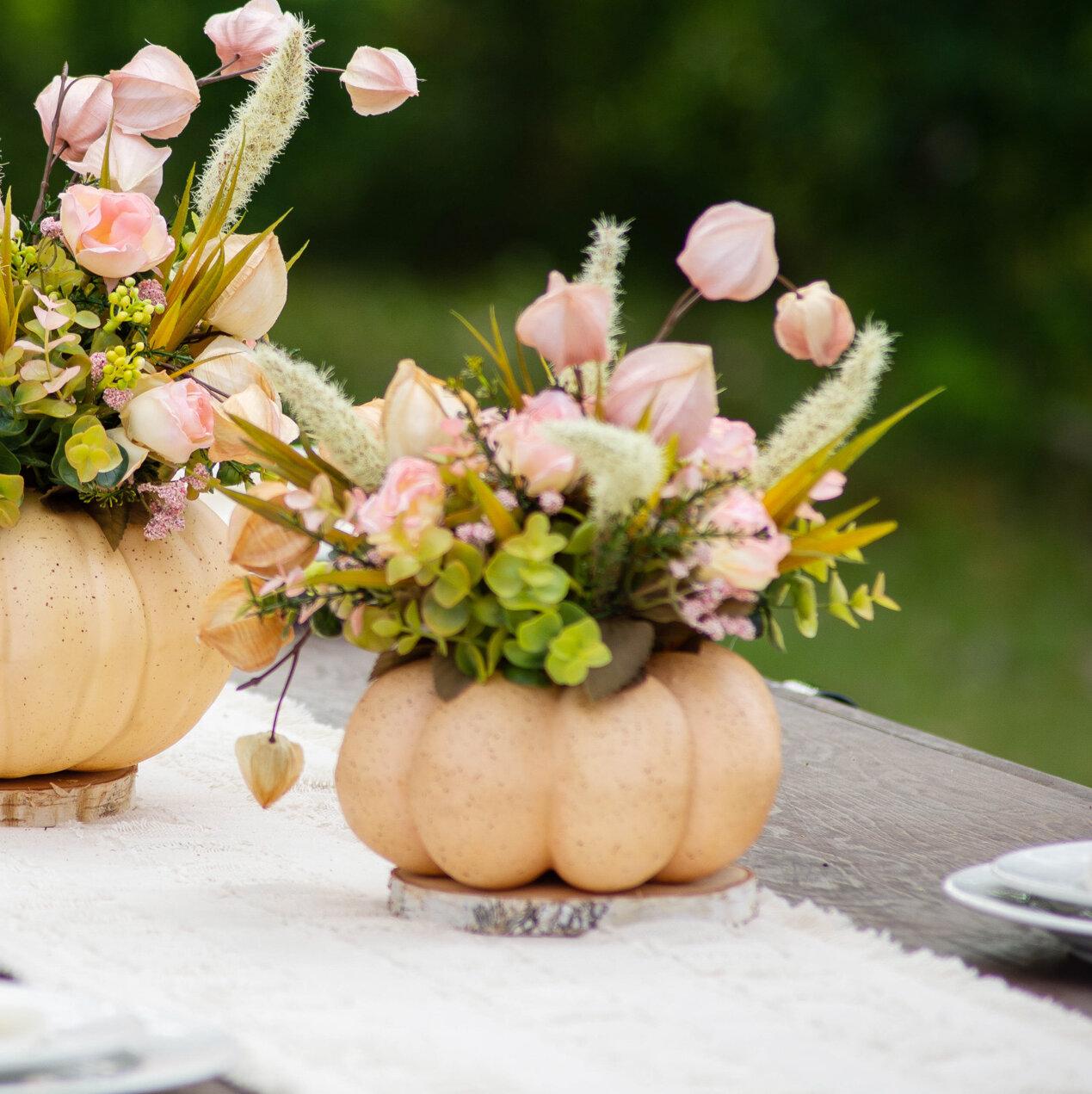Pumpkin Mixed Floral Arrangment In Pot Birch Lane
