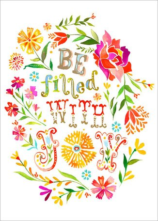 Be Filled with Joy art by Katie Daisy.Happy LOVE Day, Lovelies! Poetry, handlettered art, and colorful Valentine's Day finds await on Hello Lovely Studio!