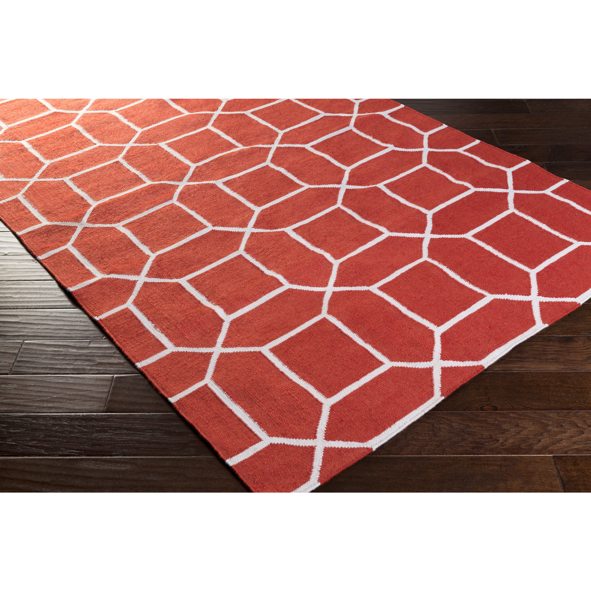 Charlton Home Larksville Geometric Handwoven Red Cream Indoor Outdoor Area Rug Wayfair