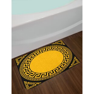 Ambesonne Greek Key Bath Mat by, Sun Inspired Big Circle with Antique Fret and Triangular Ornaments, Plush Bathroom Decor Mat with Non Slip Backing, 29.5 W X 17.5 W Inches, Charcoal Gray Marigold